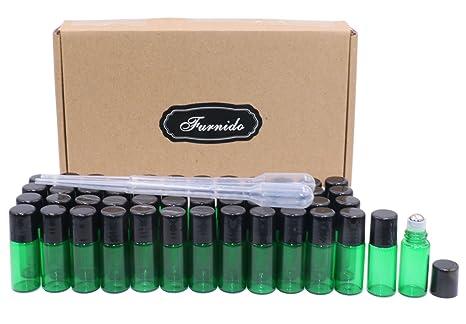 Botellas vacías de 3 ml de aceite esencial verde, rodillo de vidrio con bolas de