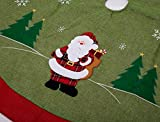 "iPEGTOP 42"" Burlap Christmas Tree Skirt - Woodland Collection Santa & Snowflake Christmas Decorations - Themed with Christmas Ornament(Not Included)"