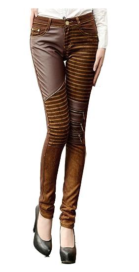 Cuckoo Pantalon en cuir marron pour femme Pantalon PU taille haute Legging  avec les poches EU48 6e54ddb4a09c