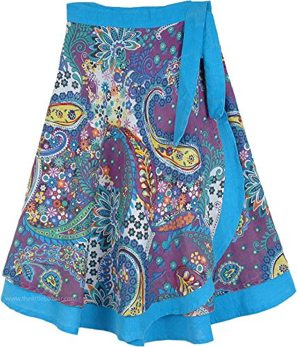 TLB - Extra Small Bohemian Floral Paisley Wrap Around Skirt in Blue Double Layered - L:27