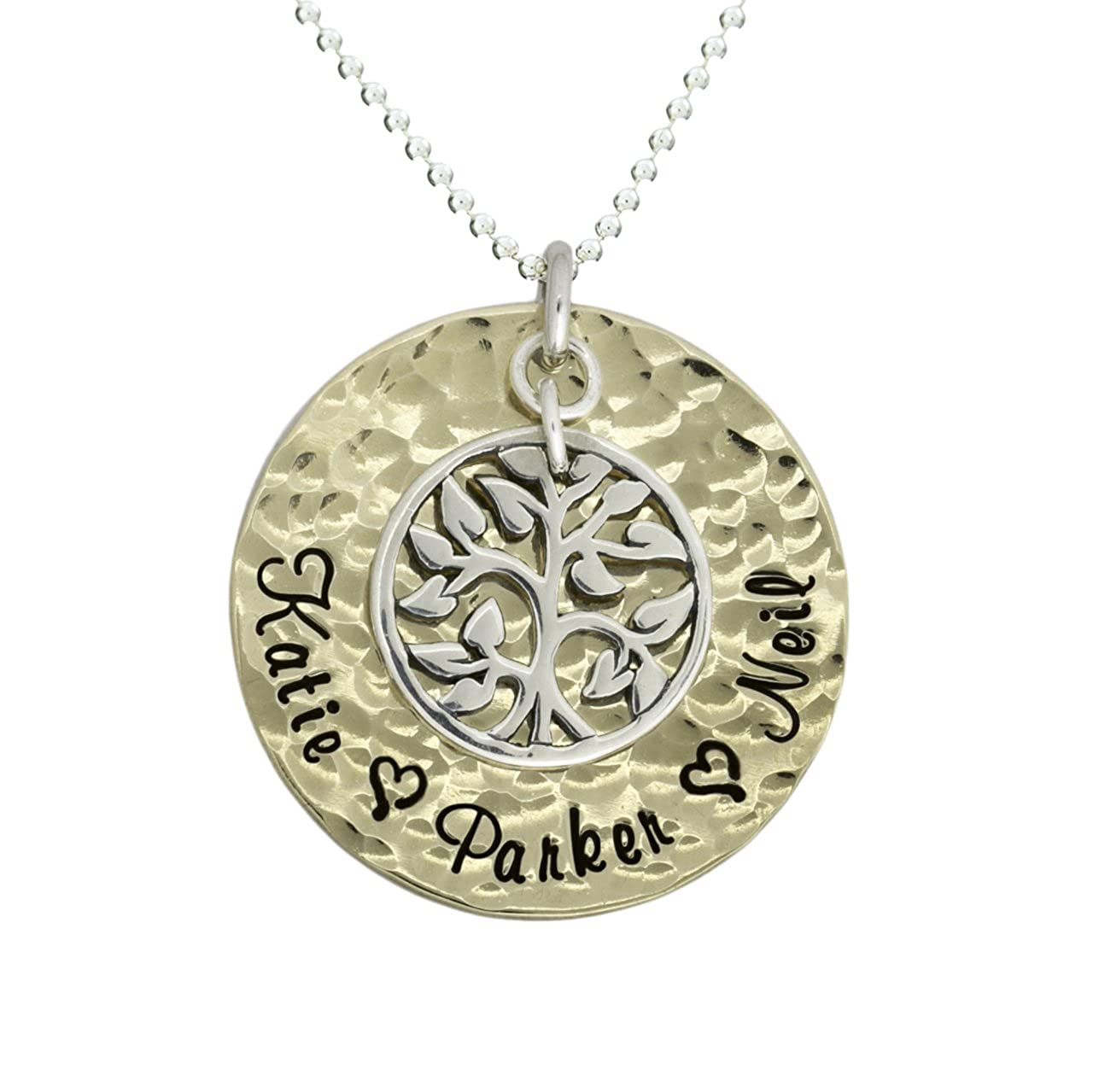 My Pride And Joy Personalized Name Necklace with 1 Inch 14k Gold Plated Disc Customized With Names Hammered Pendant Hung With Sterling Silver Tree Charm Choice of Sterling Silver Chain