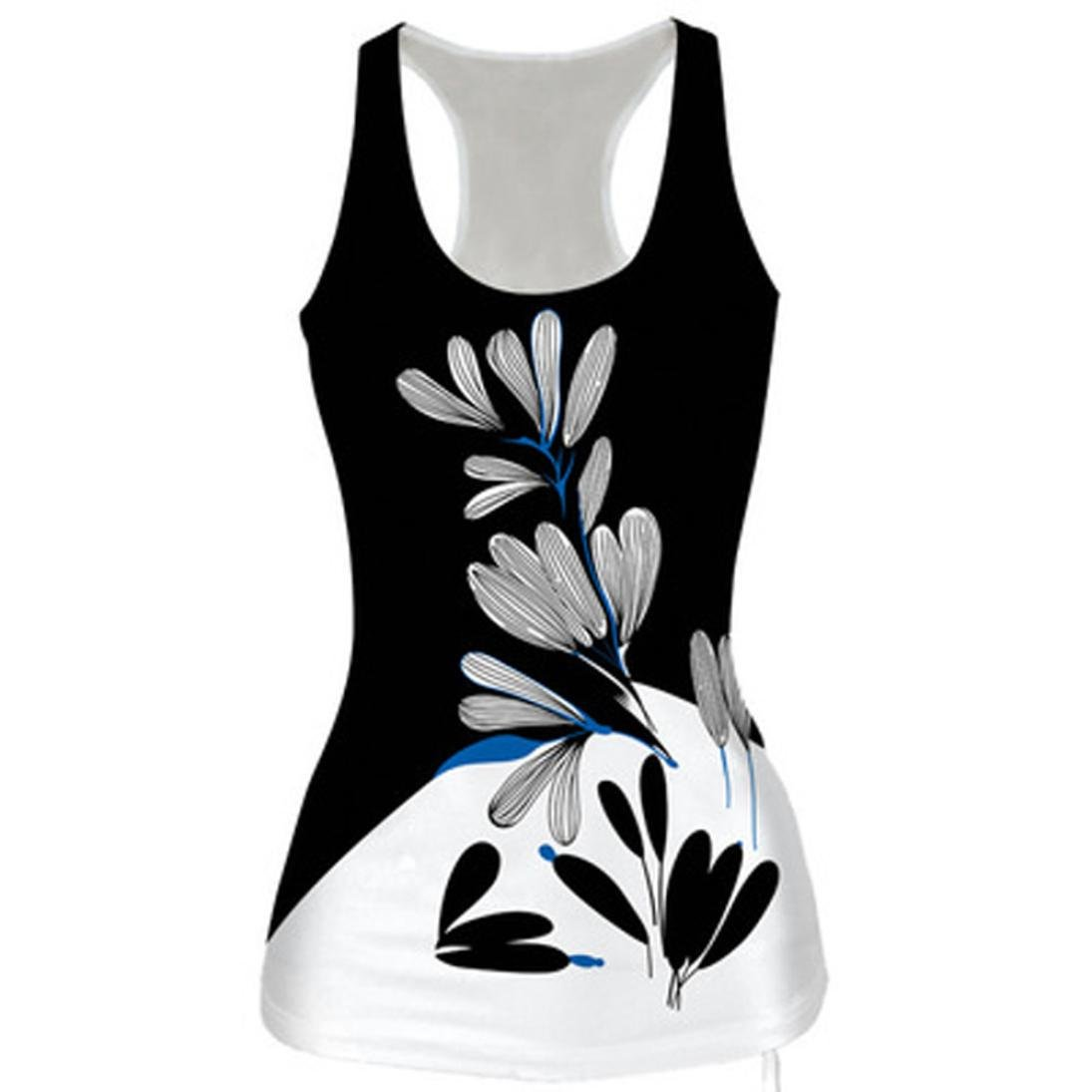 QUINTRA Women Summer Sleeveless Slim Print Vest Tank Top Bodysuit T-Shirt Blouse