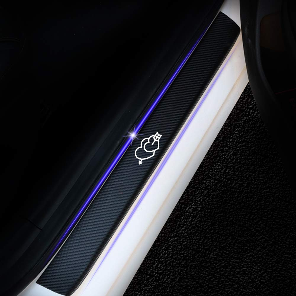 Universal 4D Carbon Fiber Door Sill Guard Protector Trim Covers fits for Car Truck SUV Anti Scratch Kick Plate Sticker with Cupids Arrow Pattern White 4 Pcs