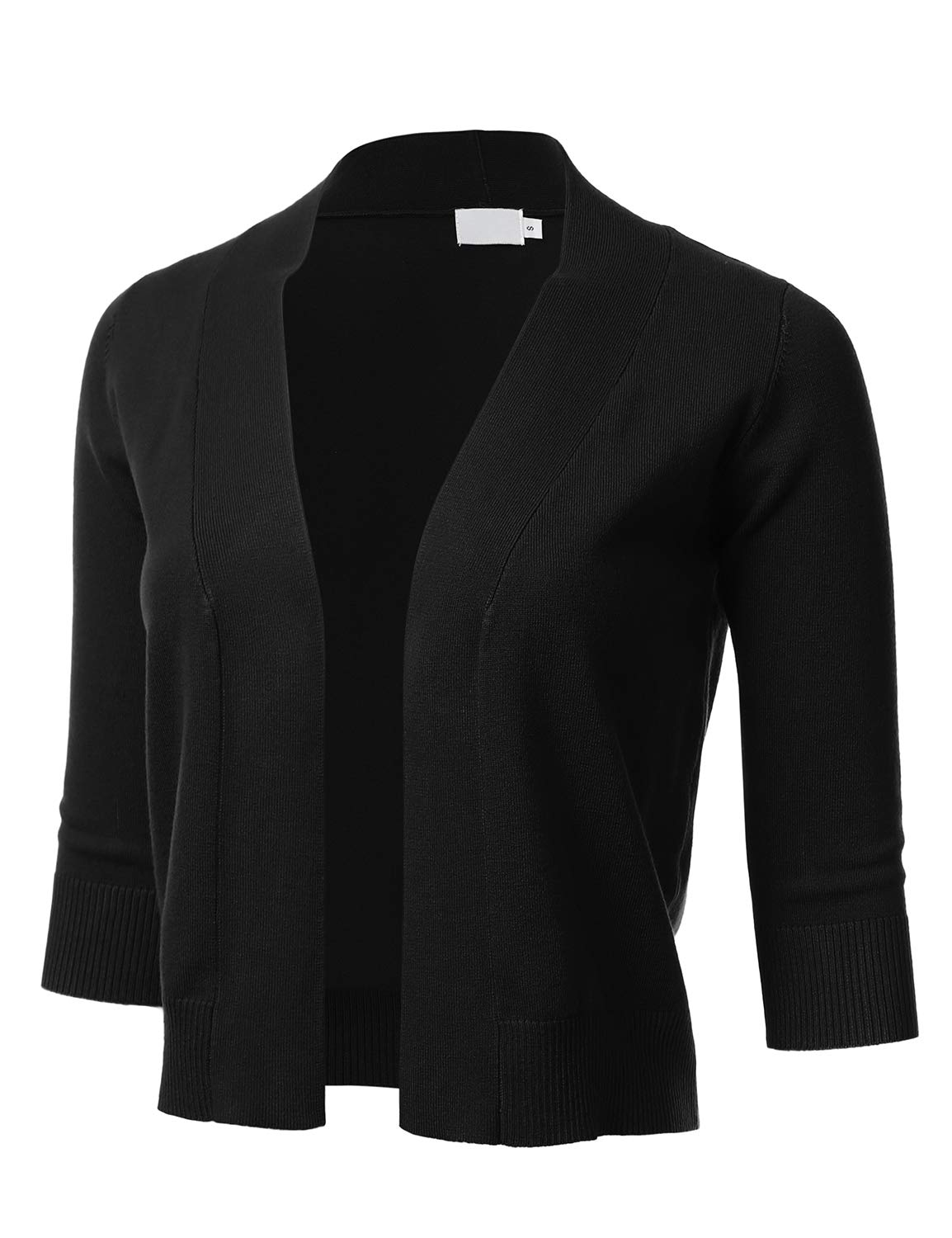 FLORIA Womens Classic 3/4 Sleeve Open Front Cropped Cardigan Black M