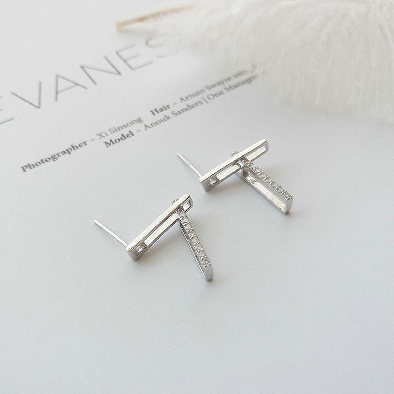 Adisaer Women Fashion 925 Sterling Silver Stud Earrings Silver Hollow Geometric Cubic Zirconia LW 3X0.4CM Round Shape Cubic Zirconia Wedding Earrings