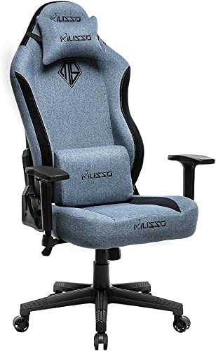 Musso Big Tall Fabric Gaming Chair,Heavy Duty Racing Chair, Adults Adjustable Video Game Chair, Large Size PU Leather High-Back Executive Office Chair Blue