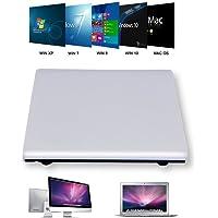 LeaningTech Mobile Externes DVD-RW-Laufwerk Mobiles CD/DVD-Brennerlaufwerk Slim Burner Reader Player Weiß, für Laptop PC Mac oder Windows XP / 2003 / Vista / 7/8.1/10
