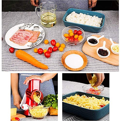 Manual Hand Speedy Mandoline Slicer Pasta Salad Maker Vegetable Fruit Cutter Rotating Drum Cheese Grater Potato Tomato Food Slicer With 3 Round Stainless Steel Blades (Red) by Izenes (Image #7)