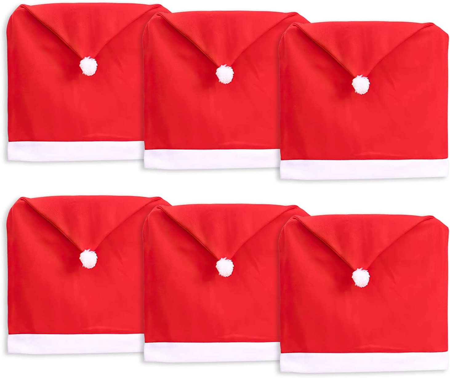 Jucoan 6 Pack Christmas Chair Covers, Red Santa Hat Chair Back Caps Slipcovers Xmas Holiday Decoration for Dinning Room Home Decor