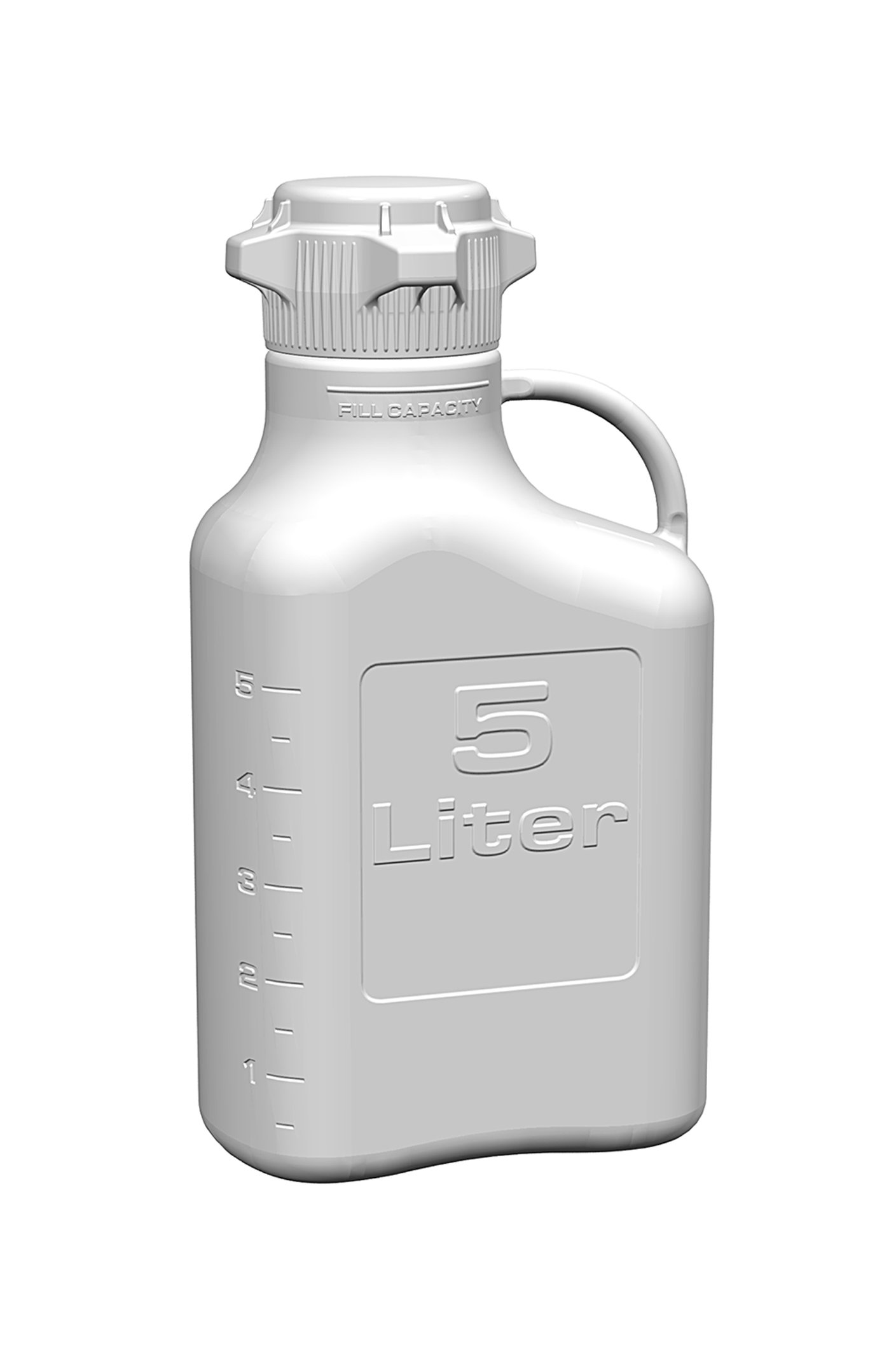 EZgrip 5L (1 Gal) HDPE Space Saving Carboy with 83mm (83B) VersaCap and 6.9L Max Capacity, Large Pinched Handles
