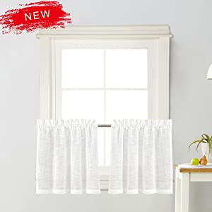 """Zceconce White Linen Semi-Sheer Tier Curtains Privacy Textured for Kitchen 24 Inch Long for Kitchen Hotel Dining Room Total Size 72 Inch Wide (36""""×24"""", White, Set of Two)"""