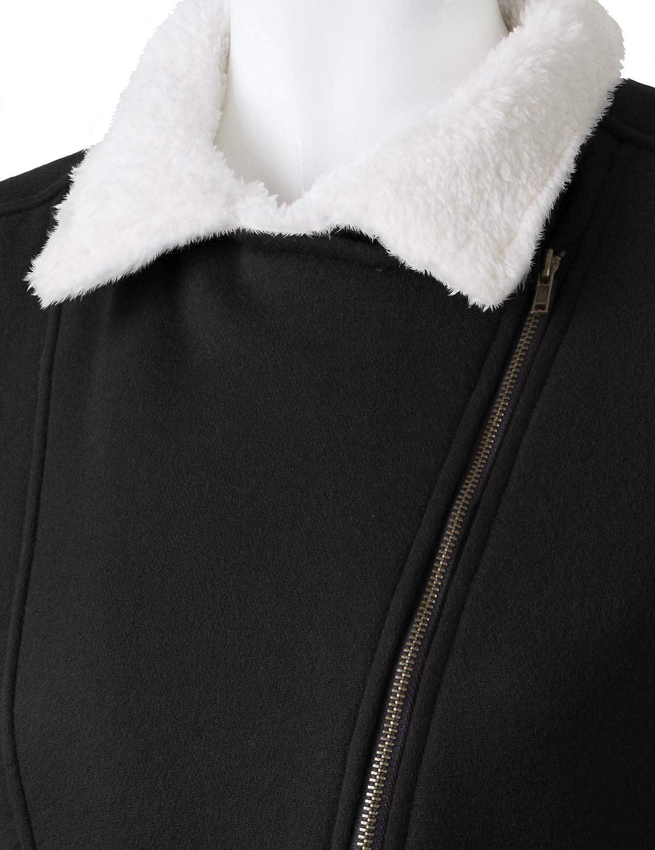 Doublju Fleece Zip-Up High Neck Jacket for Women with Plus Size