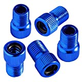 Bike Bits Presta Valve Adapter - Convert Presta to Schrader - French/UK to US - Inflate Tire Using Standard Pump or Air Compressor (5 Pack) (Blue)