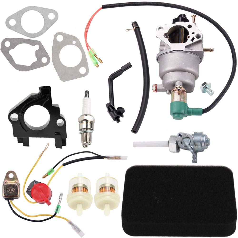 Dalom Carburetor w Fuel Shut-Off Valve Air Filter for Harbor Freight Predator 420CC Portable Generator 69671 68530 68525 69672 69674 68529 68526 13HP 14HP 15HP 16HP RATO R420-III 7000/8750 Watt