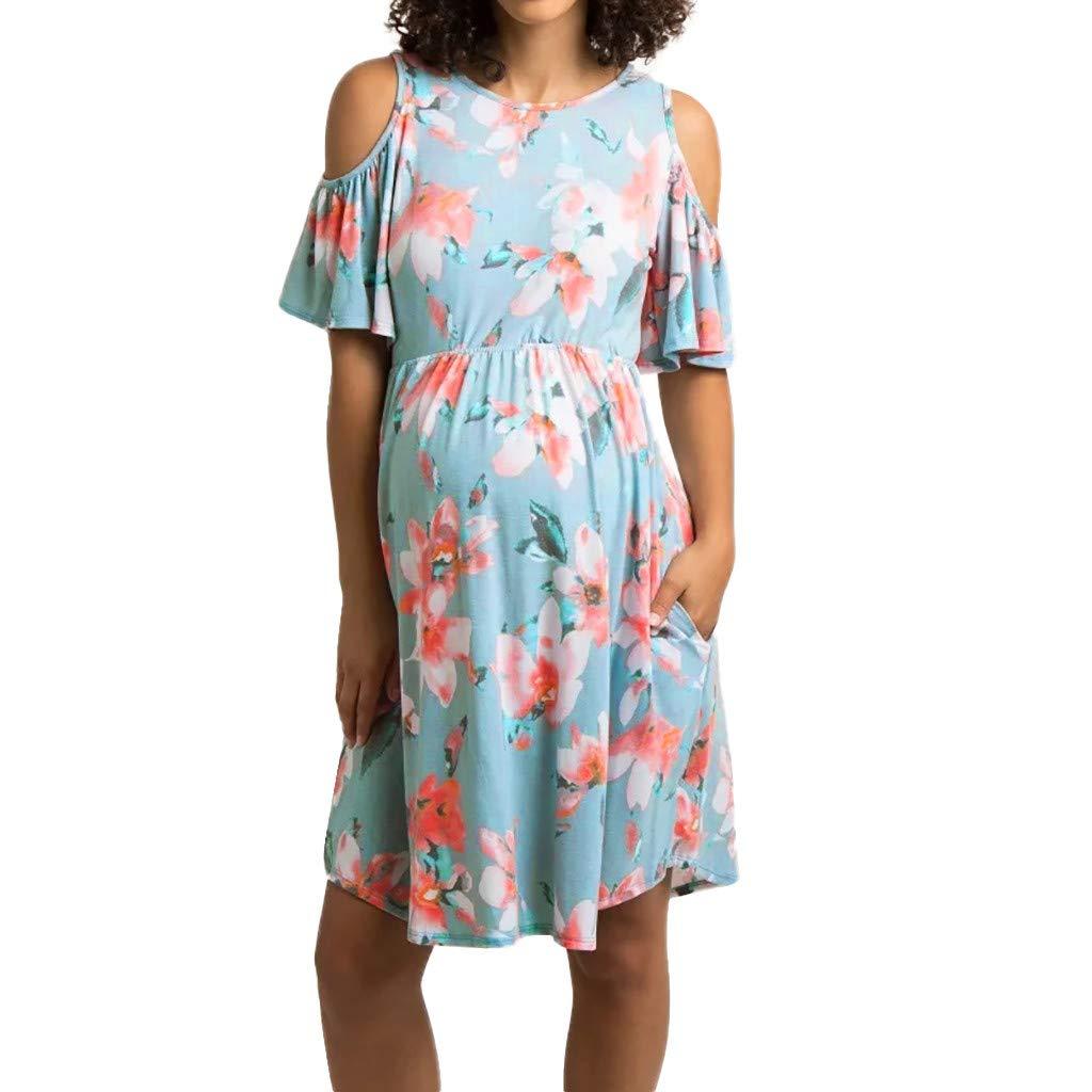 Snakell Umstandskleider Damen Blumen Maternity Kleid, Damen Umstandsmode Sommerkleid Festliches Umstandskleid Schwangeren Kleider Mutterschaftskleid Nachthemd Schwangerschaft Stillkleider