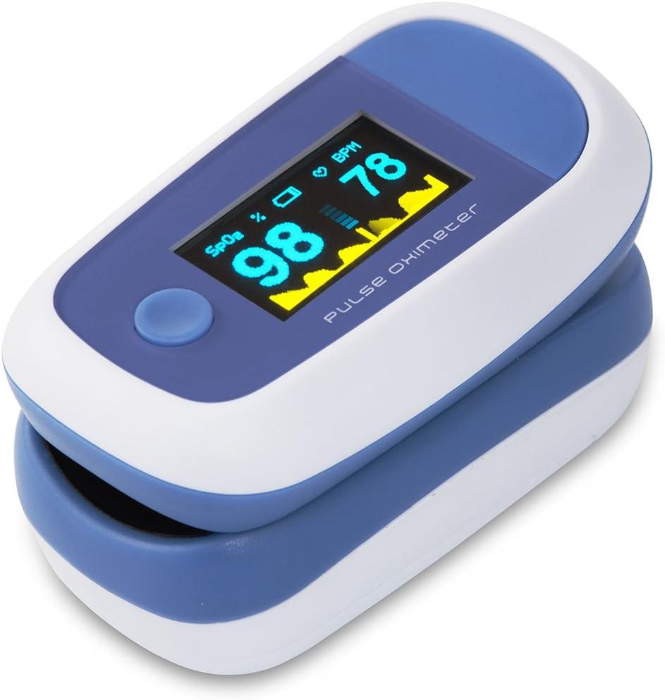 CYBERNOVA Dedo oxímetro de pulso con el color OLED Display-% SpO2 (saturación de oxígeno de la sangre) y monitor del ritmo cardíaco con instrucciones