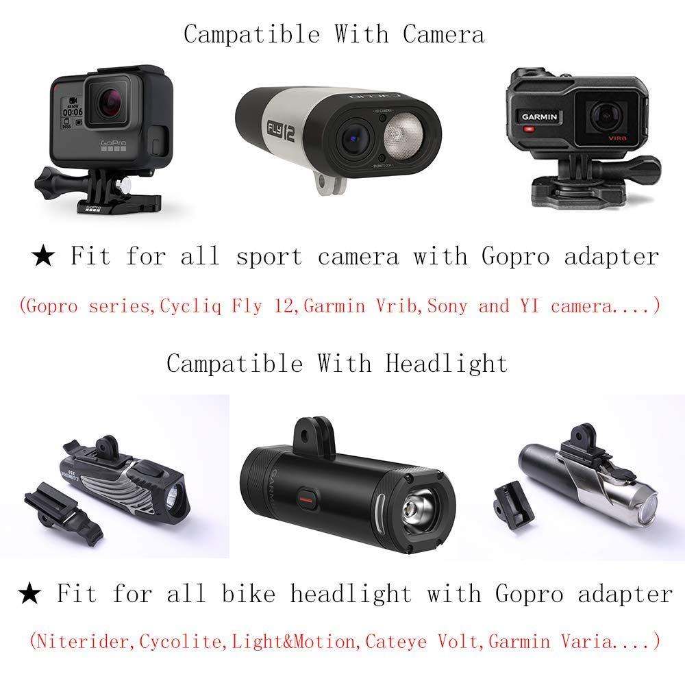 SOBAMART Front Bike Mount Compatible with Garmin Edge 25 130 200 500 510 520 800 810 820 1000 1030 and GoPro
