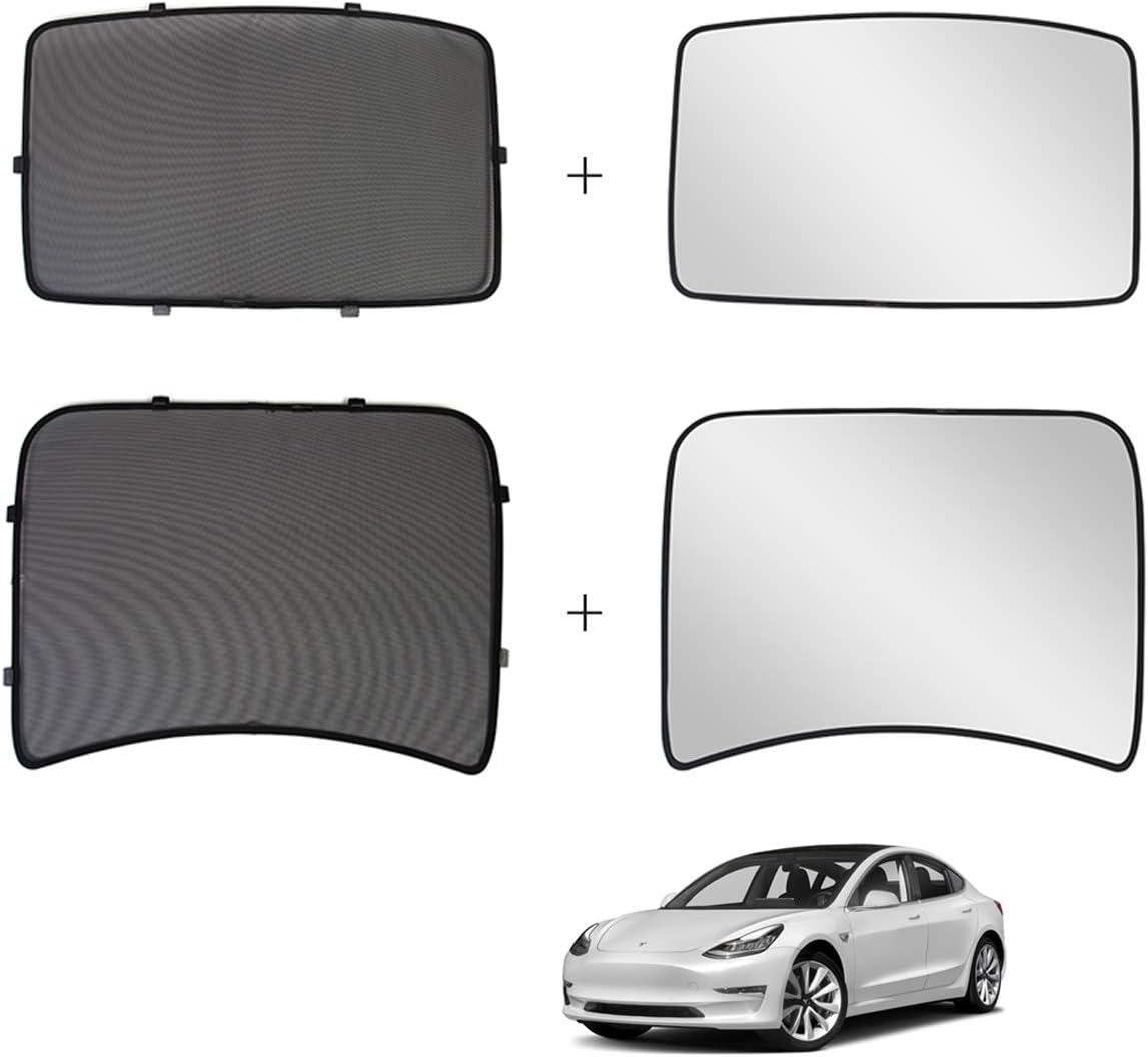 Jaronx for Tesla Model 3 Glass Roof Sunshade,Overhead Roof Sunshade Rear Window Sunshade+ UV/Heat Insulation Film (Set of 4 Pieces),Sunroof UV Rays Protection Window Shade