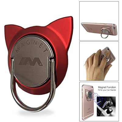 Phone Ring Stand Compatible Magnetic Car Vent Mount, Cell Phone Finger Holder Loop Grip Cat Kickstand Compatible with iPhone X XR XS Max 7 8 Plus, Galaxy S9/S8 Tablet (Red)