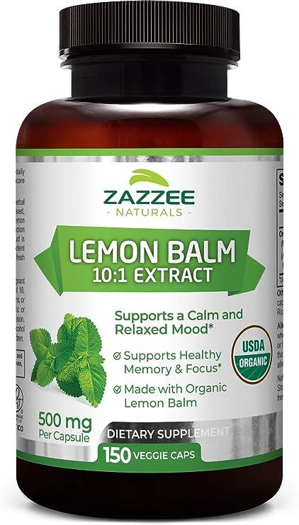 Zazzee USDA Organic Lemon Balm Extract