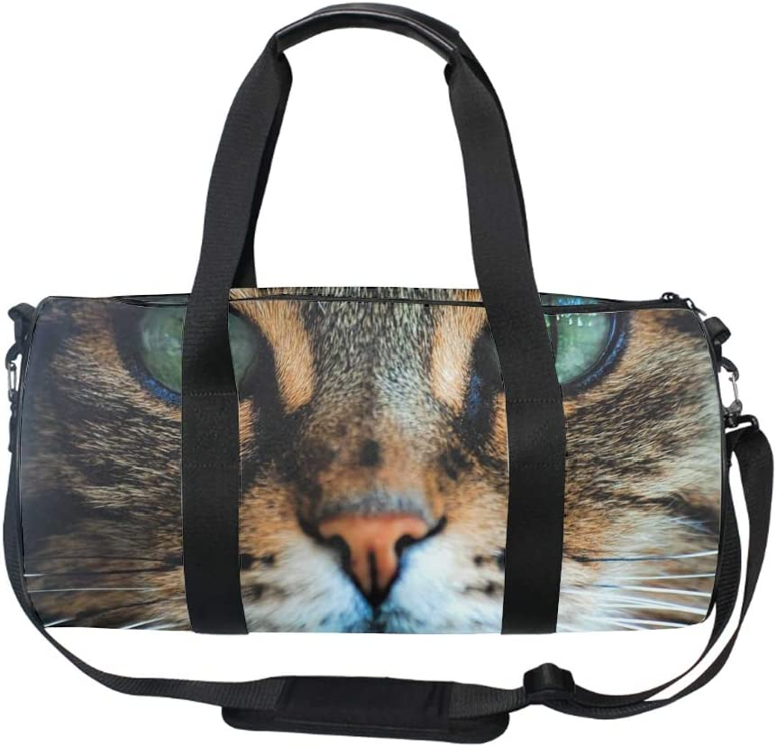 Round Cat Face Gym Duffle Bag Drum tote Fitness Shoulder Handbag Messenger Bags