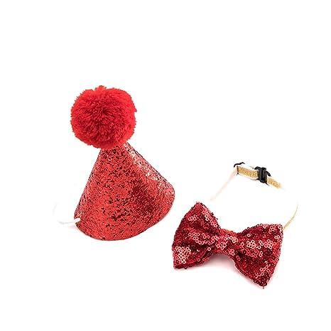 UKCOCO Sombrero de Cumpleaños con Pajarita para Mascotas Perros Gatos para Cumpleaños Banquetes (Color Aleatorio)