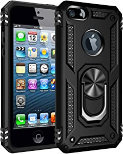 LEECOCO iPhone 5S Case Shockproof Heavy Duty Hybrid 360°Rotating with Metal Ring Holder Kickstand Armor Magnetic Car Mount Protective Rugged Cover for iPhone 5 / 5S / SE Black AC
