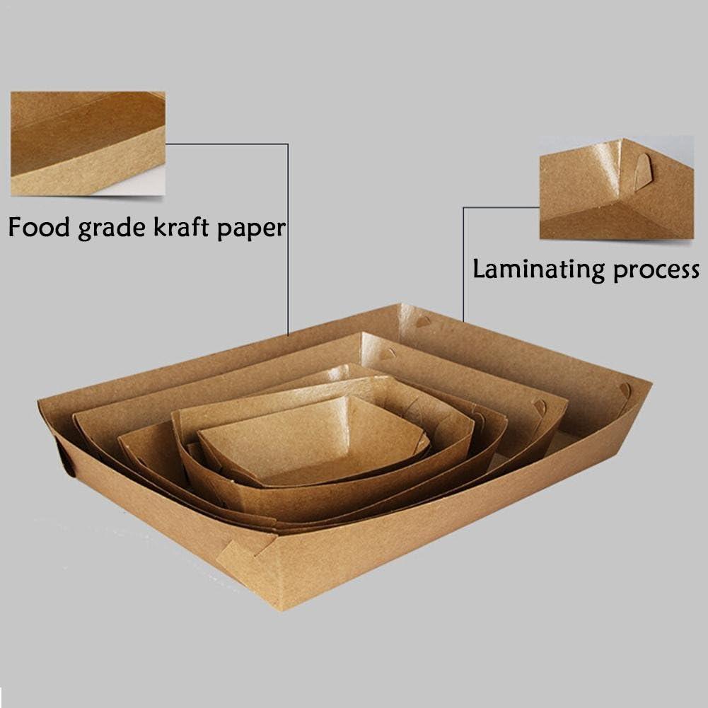 Somedays - Juego de 50 cajas de papel kraft bento a prueba de aceite, caja de almuerzo desechable en forma de barco, bandeja para pollo frito, patata, palomitas y barbacoa: Amazon.es: Bricolaje