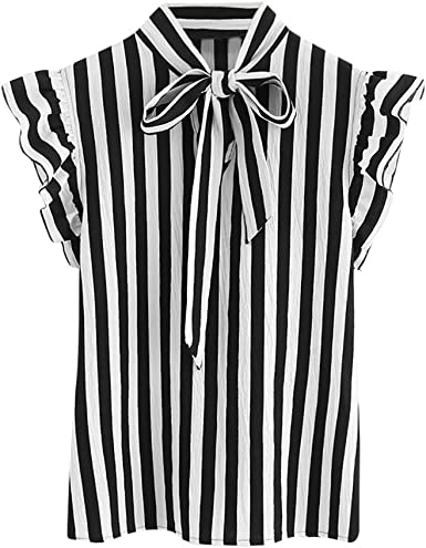 Damark(TM) Ropa Camisetas Mujer, Camisas Mujer Verano Elegantes Negro Blanco Corbata a Rayas Casual Tallas Grandes Camisetas Mujer Manga Corta Camiseta Blusas Tops para Mujer Fiesta en la Playa: Amazon.es: Ropa y