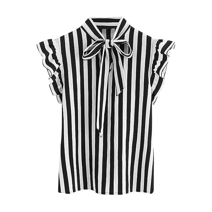 Damark(TM) Ropa Camisetas Mujer, Camisas Mujer Verano Elegantes Negro Blanco Corbata a