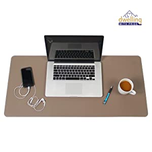 Desk Mat Brown & Dark Brown 17x36 | Computer, Laptop, Keyboard & Mouse Pad Organizer | Leather Cover Office Table Protector | Double Side Gaming Surface with Colors | Typing & Writing Accessories