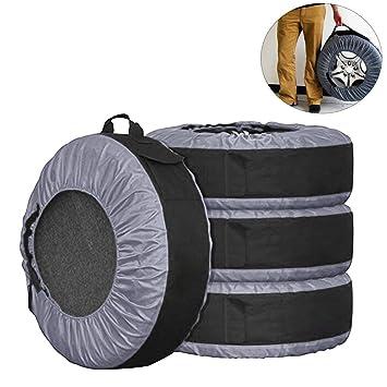 Lanyifang 4pcs Fundas de Protección para Neumáticos de Coche Cubiertas de Rueda de Respuesto Impermeable A Prueba de Polvo Portátil Ajuste para 22-30 ...