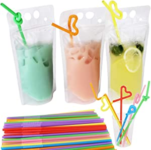 Belinlen 100 Pack 9.1 x 5.2 Inch/17 Ounce 8mil Clear Drink Pouches with Heavy Duty Hand-held Translucent Reclosable Zipper Stand-up Plastic Pouches Bags Drinking Bag 2.4 Inch Bottom Gusset with Straws