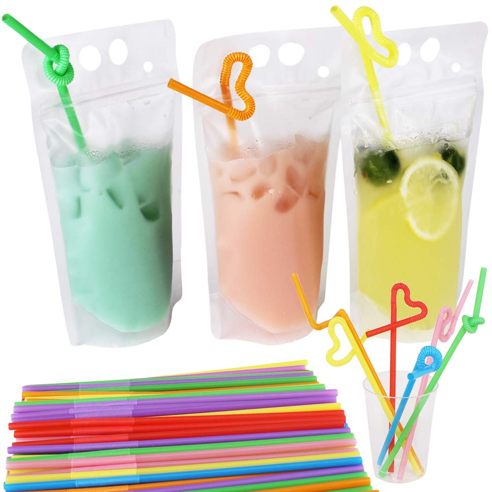 Tomnk 200pcs Clear Drink Pouches Bags Smoothie Bags Reclosable Zipper Heavy Duty Hand-held Translucent Stand-up Plastic Pouches Bags Drinking Bags 2.4 Inches Bottom Gusset with 200pcs Straws