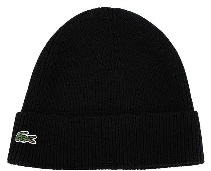 Nero tinta unita in lana Beanie cappello di Lacoste  Amazon.it  Scarpe e  borse facf466058a1