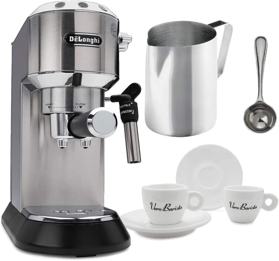 DeLonghi EC685M Dedica Deluxe Pump Espresso Machine, Silver Includes Frothing Pitcher, Coffee Spoon and 2 Espresso Cups Bundle
