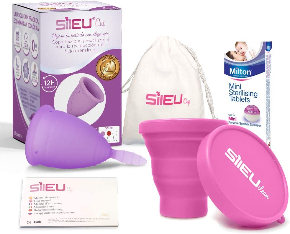 Copa Menstrual Sileu Cup Classic - Silicona grado quirúrgico - Disminuye el dolor causado por menstruación - Talla L Morado + Esterilizador Plegable ...