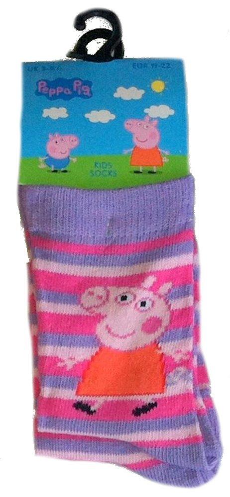 Peppa Pig Socks 9-12, Peppa Cerise Stripes