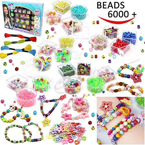Valentine Bracelet Jewelry - Beads Set 6000 Pieces DIY Beads Kit; 28 Different Types & 4 Color Strings for Jewelry Necklace Making, Friendship Bracelet Making and Valentines Day Children Arts & Crafts Beads by Joyin Toy