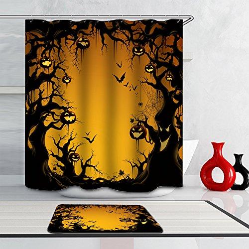 Warlock Costume Makeup - J-SO Happy Halloween Pumpkin Lantern Bat Ghost Polyester Fabric Waterproof Mildew Resistant Antibacterial Bathroom Shower Curtain (60
