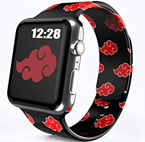 Anime Band Compatible with Apple Watch Band 42mm 44mm Men Boys Kids, Cool Red Cloud Design Silicone Watch Bands for iWatch Series 6 5 4 SE 3 2