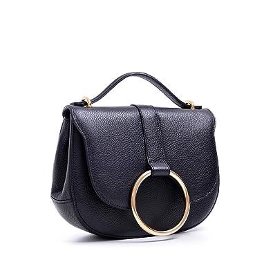 cd25c01f0f Amazon.com  Carbotti Italian Designer Leather Metal Ring Grab Handbag