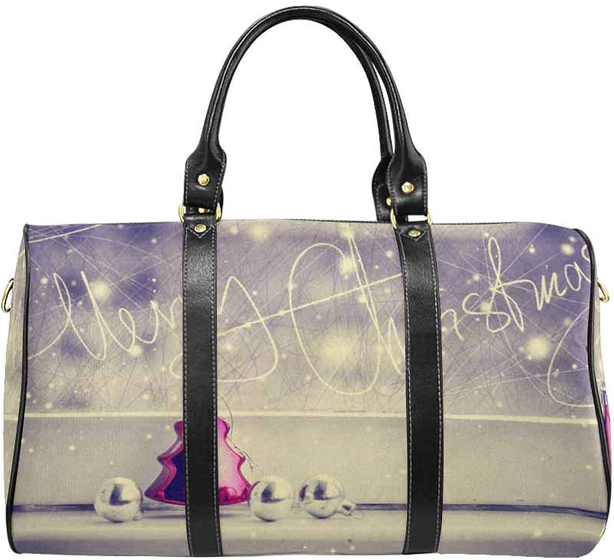 INTERESTPRINT Carry on Bag Travel Duffel Tote Unisex Weekender Bag Vintage Christmas Background