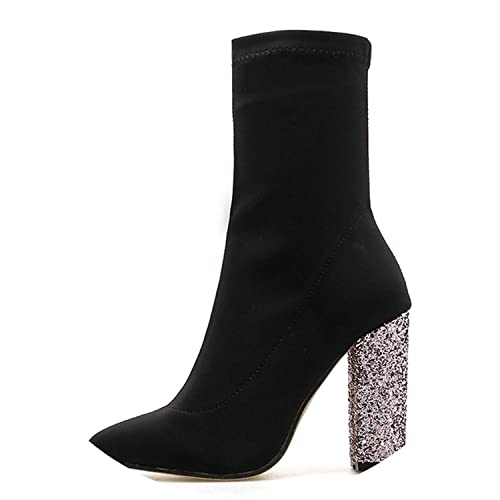 Amazon.com | Stretch Fabric Ankle Boots Women Fashion Round Toe Bling Heel Woman Chelsea Boots | Boots