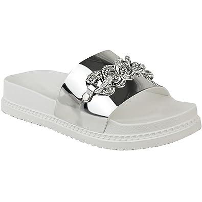 eedfa915964 Fashion Thirsty Womens Ladies Flat Slip On Sliders Diamante Chain Flatforms Summer  Sandals Size