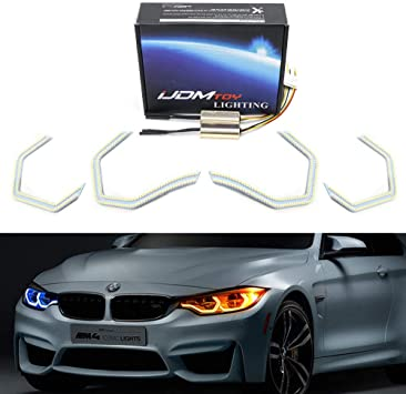 Switchback M4 Iconic Style Dual-Color LED Angel Eye Kit w//Relay Wirings For BMW