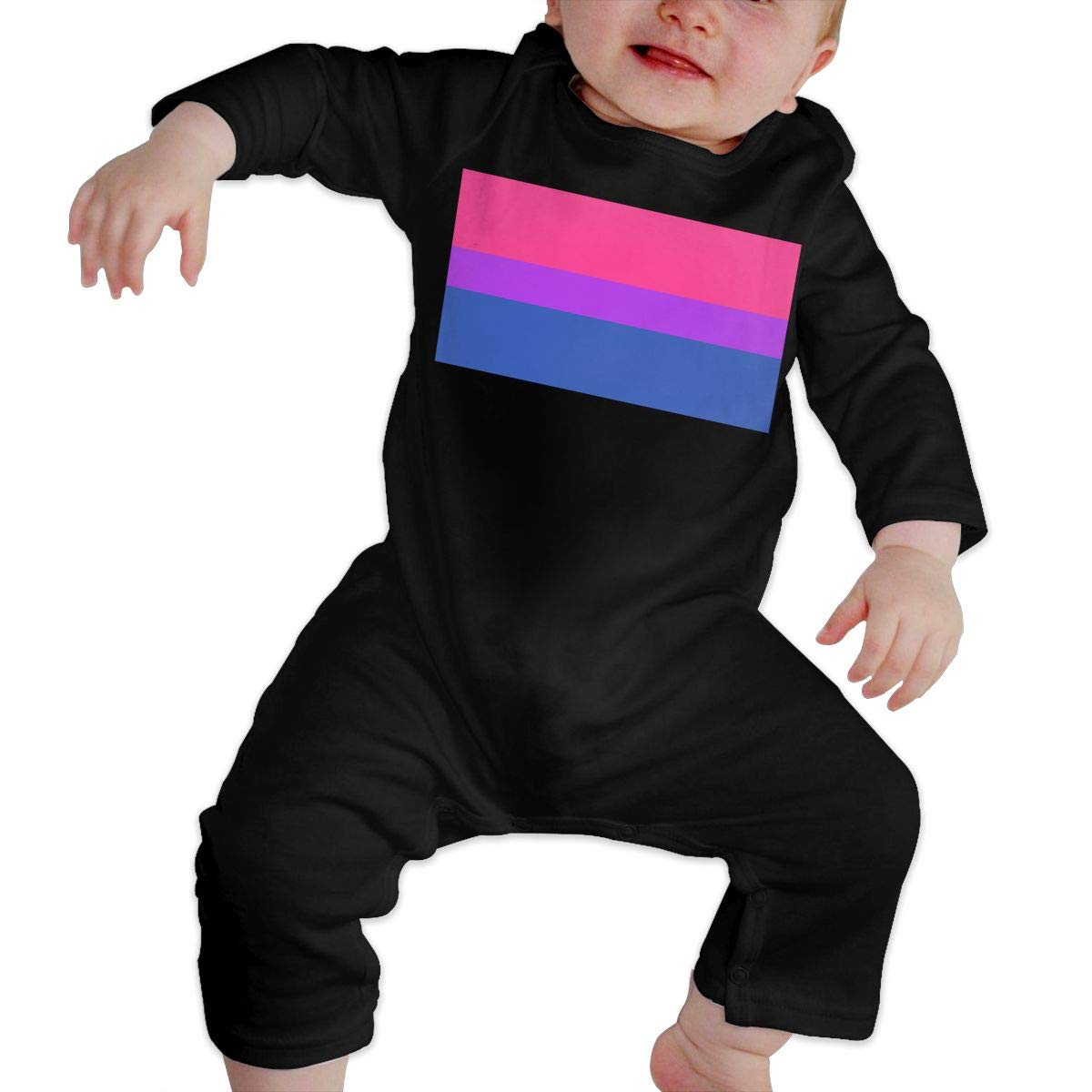 Cute Bisexual Pride Flag Sleepwear U99oi-9 Long Sleeve Cotton Rompers for Baby Boys and Girls