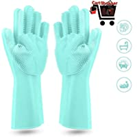 Cartshopper Dishwashing Gloves with Wash Scrubber + Magic Silicone Gloves + Heat Resistant + Reusable Cleaning Gloves for Kitchen,Car, Bathroom and Pet - (1 Pair)