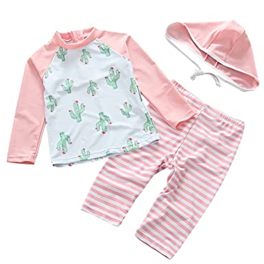 903ddf386d UV Sun Protective Baby Girls Swimsuit Long Sleeve Kids 3pcs Cactus Bathing  Suit Rash Guards UPF