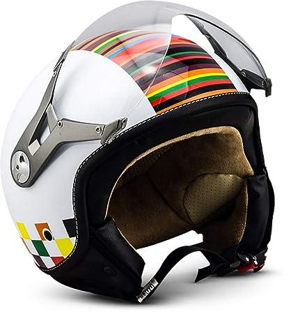 SOXON SP-325 - Casco Moto, ECE Certificado, con parasol y bolsa de casco, Blanco (Colors), M (57-58cm)